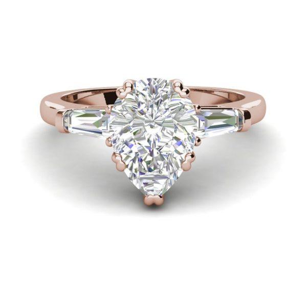 Baguette Accents 1 Ct VVS1 Clarity D Color Pear Cut Diamond Engagement Ring Rose Gold 3