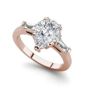 Baguette Accents 1 Ct VVS1 Clarity D Color Pear Cut Diamond Engagement Ring Rose Gold