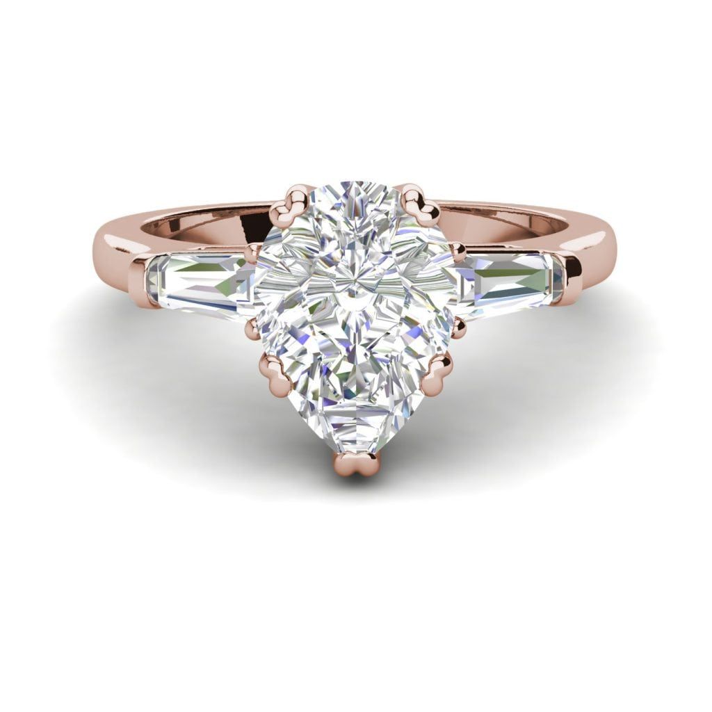 Baguette Accents 1.25 Ct VVS1 Clarity D Color Pear Cut Diamond Engagement Ring Rose Gold 3