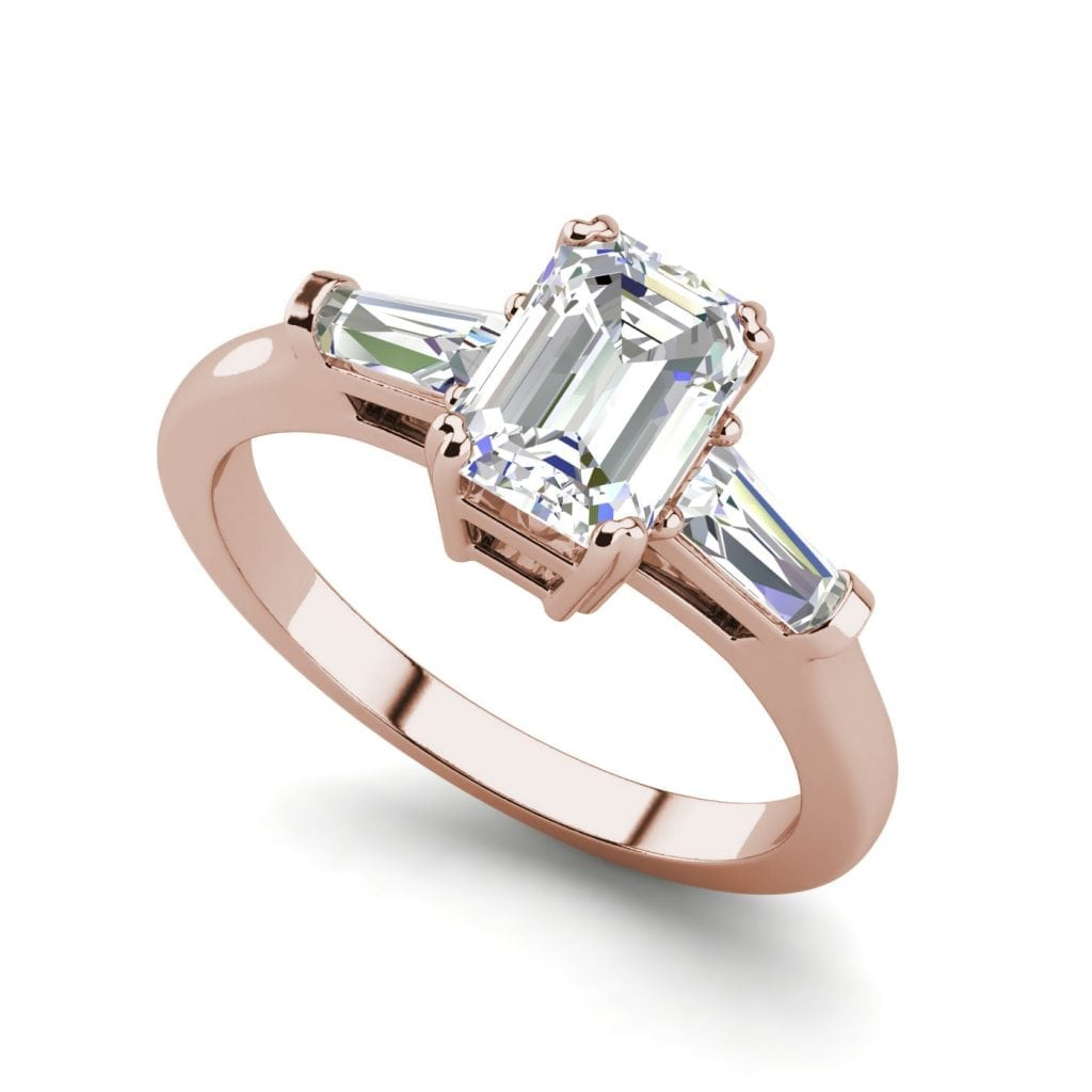 Baguette Accents 1.5 Ct VS2 Clarity F Color Emerald Cut Diamond Engagement Ring Rose Gold