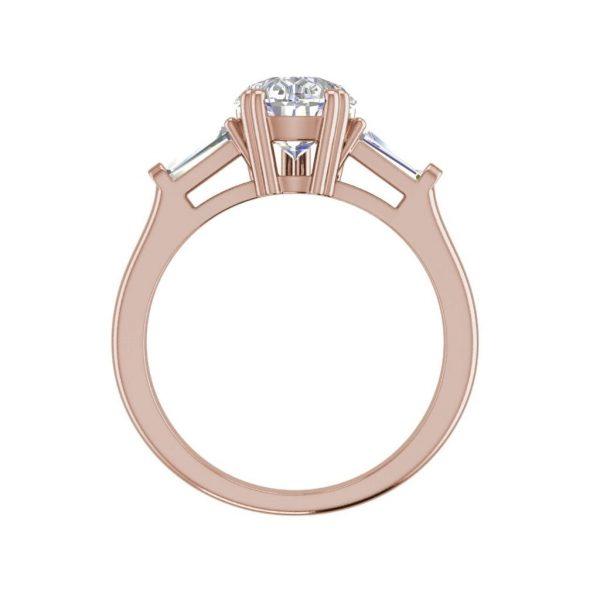Baguette Accents 1.5 Ct VVS1 Clarity D Color Pear Cut Diamond Engagement Ring Rose Gold 2