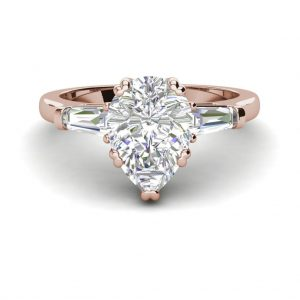 Baguette Accents 2 Ct VVS1 Clarity D Color Pear Cut Diamond Engagement Ring Rose Gold 3