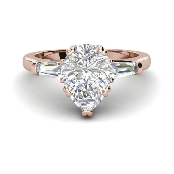 Baguette Accents 3 Ct SI1 Clarity D Color Pear Cut Diamond Engagement Ring Rose Gold 3