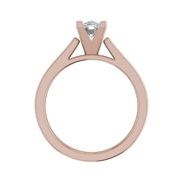Cathedral 0.75 Carat VS1 Clarity F Color Oval Cut Diamond Engagement Ring Rose Gold 2