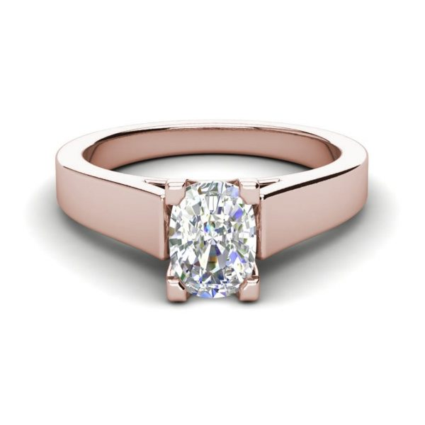 Cathedral 1.5 Carat VS2 Clarity F Color Oval Cut Diamond Engagement Ring Rose Gold 3