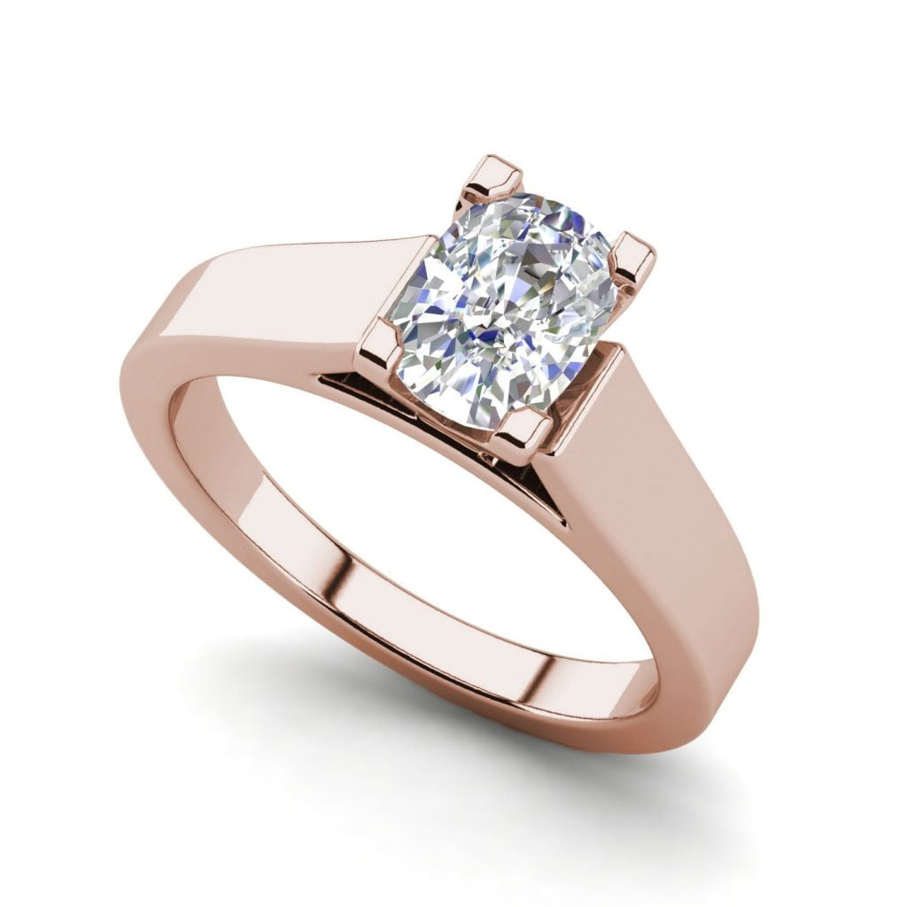 Cathedral 1.75 Carat VS2 Clarity H Color Oval Cut Diamond Engagement Ring Rose Gold