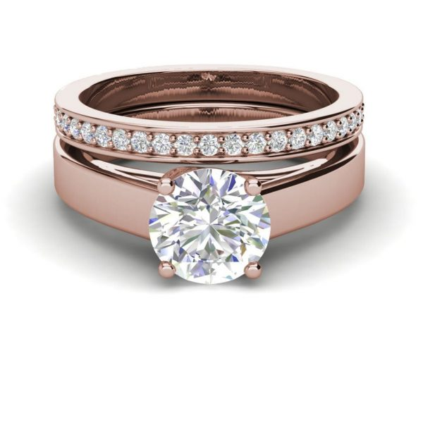 Channel Set 2.75 Carat VVS1 Clarity D Color Round Cut Diamond Engagement Ring Rose Gold 3