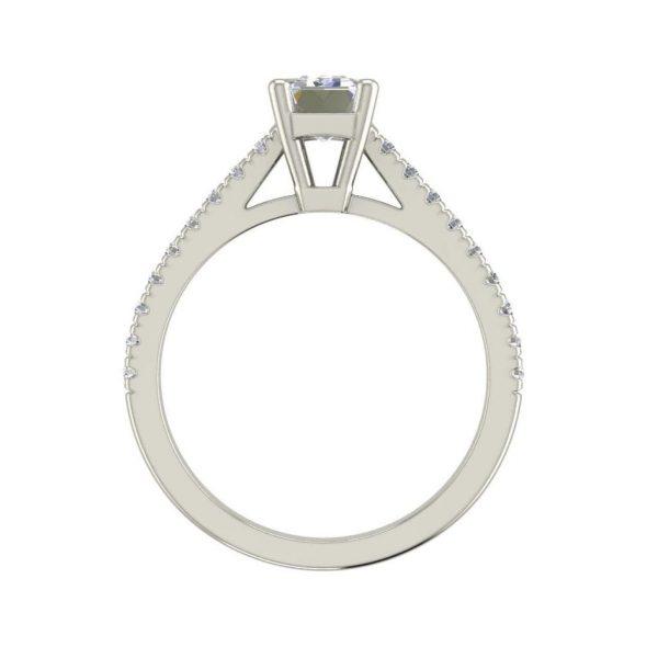 Classic Pave 2.45 Carat VS2 Clarity D Color Emerald Cut Diamond Engagement Ring White Gold 2