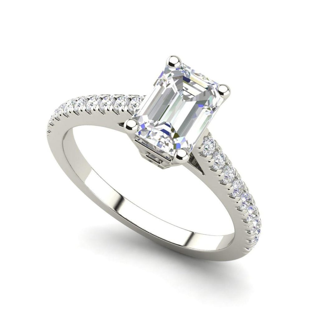 Classic Pave 2.45 Carat VS2 Clarity D Color Emerald Cut Diamond Engagement Ring White Gold