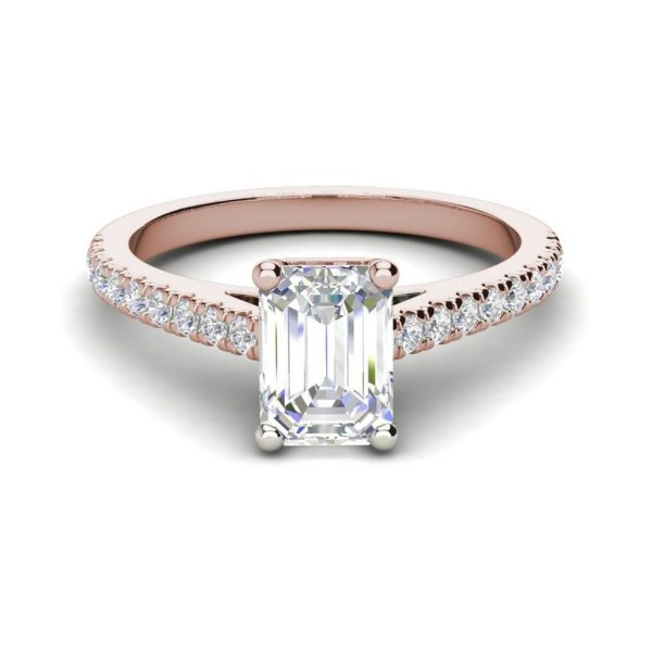 Classic Pave 2.7 Carat VVS1 Clarity D Color Emerald Cut Diamond Engagement Ring Rose Gold 3