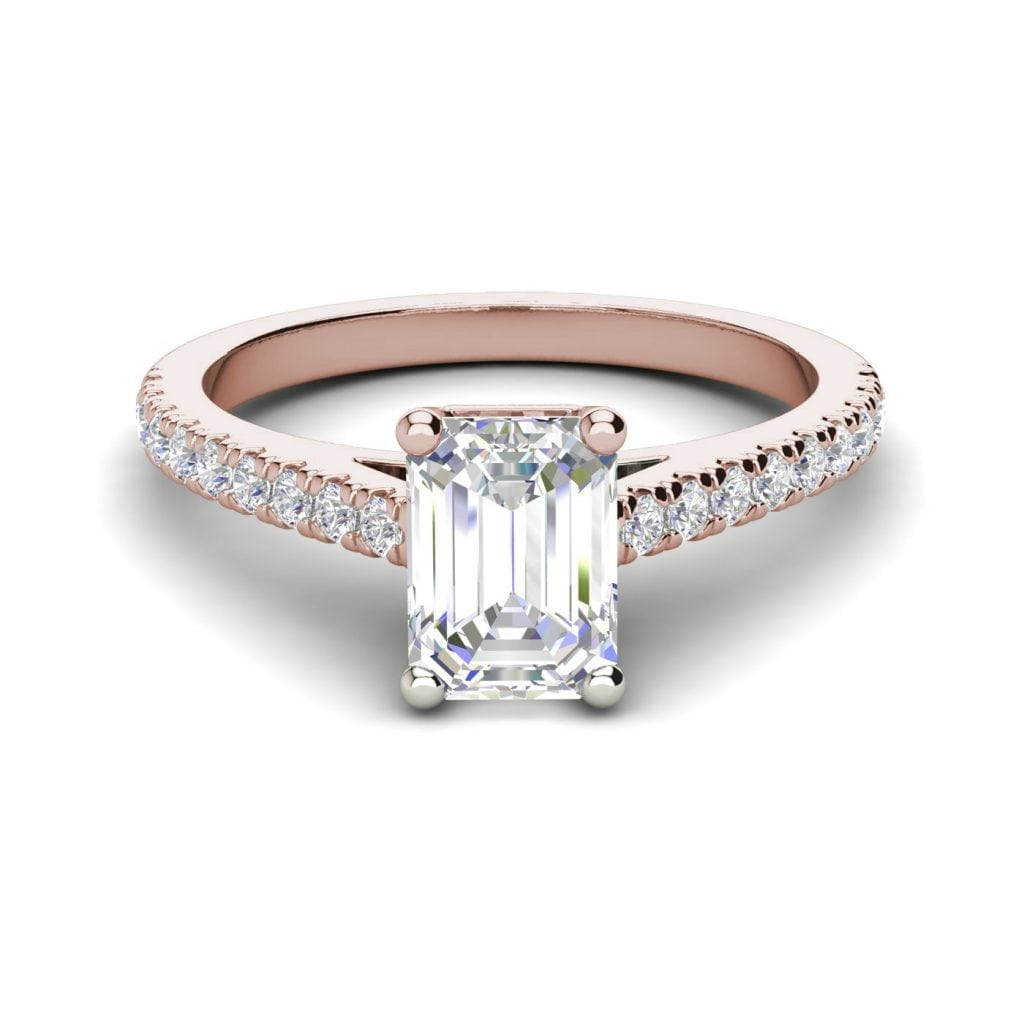 Classic Pave 2.7 Carat VVS1 Clarity D Color Emerald Cut Diamond Engagement Ring Rose Gold 3