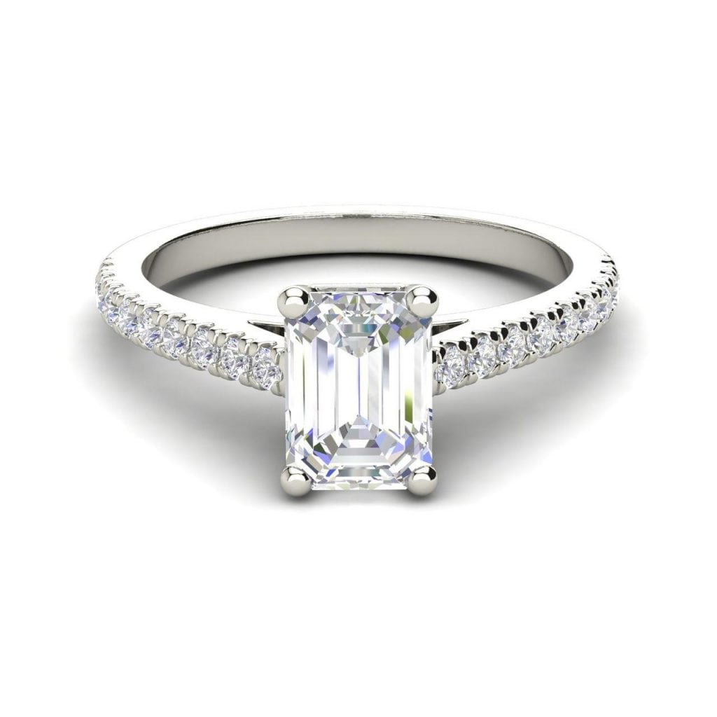 Classic Pave 2.7 Carat VVS1 Clarity D Color Emerald Cut Diamond Engagement Ring White Gold 3