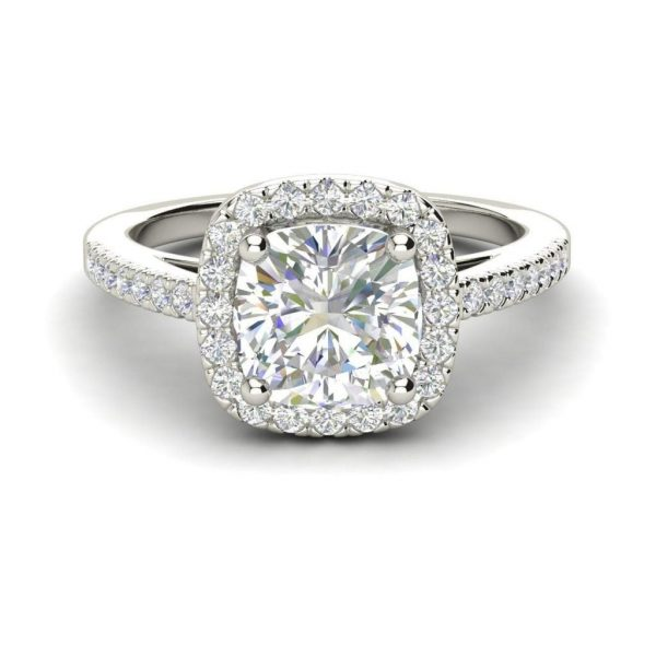 Halo 1.45 Carat VS2 Clarity F Color Cushion Cut Diamond Engagement Ring White Gold 3