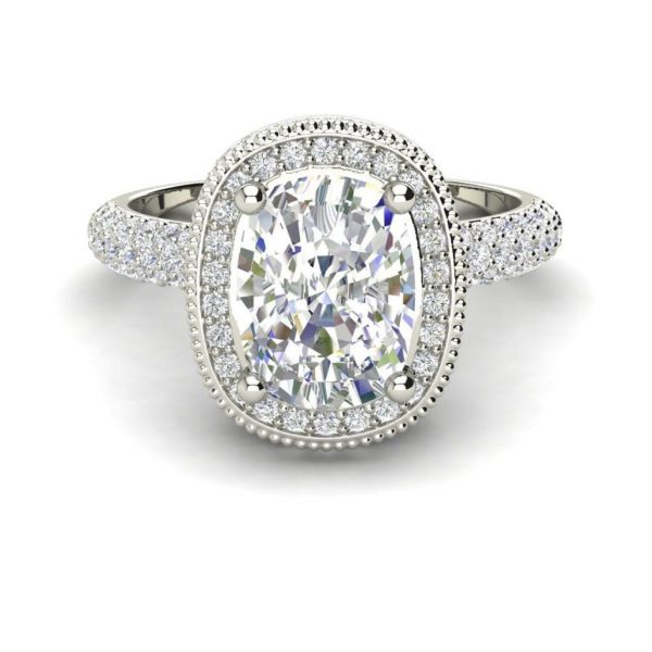 Halo 1.5 Carat VS1 Clarity H Color Cushion Cut Diamond Engagement Ring White Gold 3