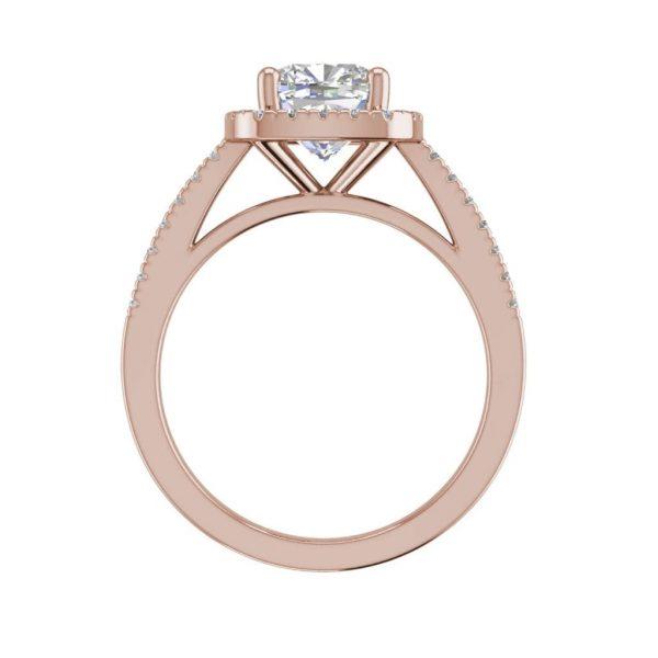 Halo 1.7 Carat VS2 Clarity F Color Cushion Cut Diamond Engagement Ring Rose Gold 2