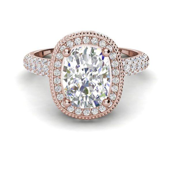 Halo 2.25 Carat VS2 Clarity F Color Cushion Cut Diamond Engagement Ring Rose Gold 3