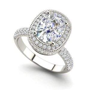 Halo 2.25 Carat VS2 Clarity F Color Cushion Cut Diamond Engagement Ring White Gold