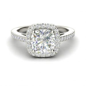 Halo 2.7 Carat VS1 Clarity F Color Cushion Cut Diamond Engagement Ring White Gold 3