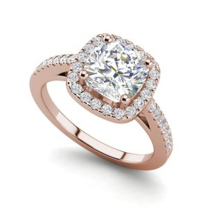 Halo 2.95 Carat VS2 Clarity H Color Cushion Cut Diamond Engagement Ring Rose Gold.