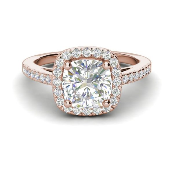 Halo 2.95 Carat VS2 Clarity H Color Cushion Cut Diamond Engagement Ring Rose Gold.3