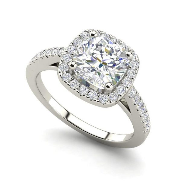 Halo 2.95 Carat VS2 Clarity H Color Cushion Cut Diamond Engagement Ring White Gold