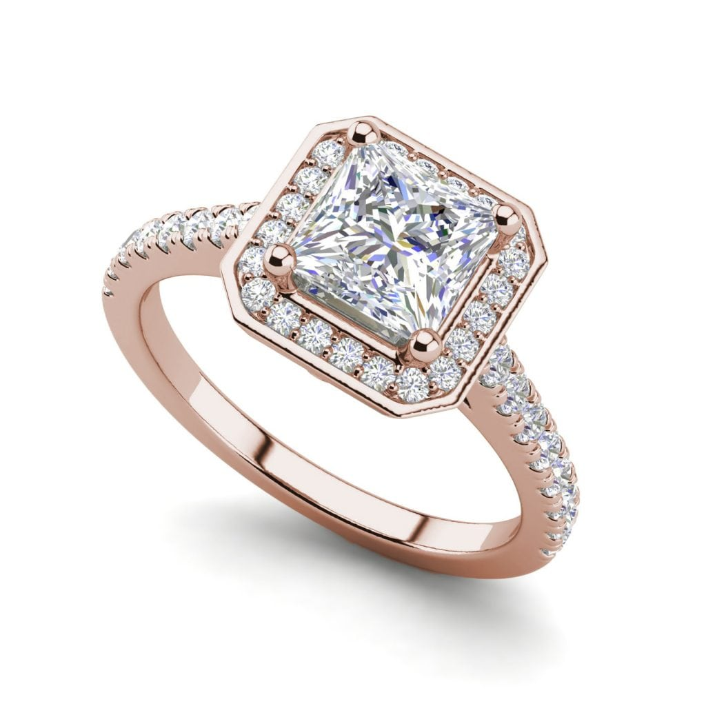 Halo Pave 2.45 Carat VS2 Clarity D Color Princess Cut Diamond Engagement Ring Rose Gold