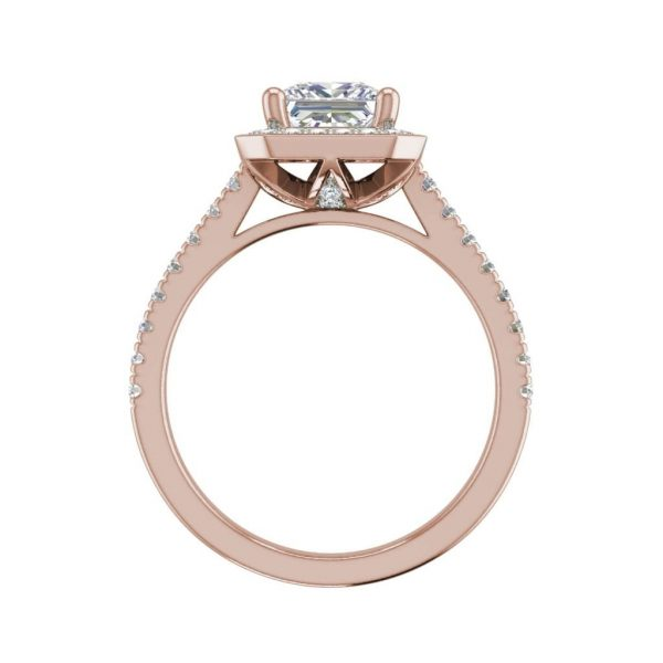 Halo Pave 2.95 Carat VS1 Clarity H Color Princess Cut Diamond Engagement Ring Rose Gold 2