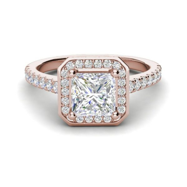 Halo Pave 2.95 Carat VS1 Clarity H Color Princess Cut Diamond Engagement Ring Rose Gold 3