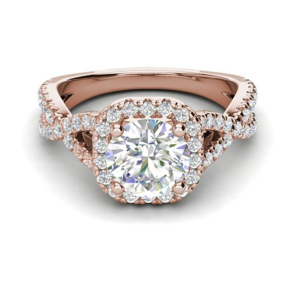 Infinity Halo 2.9 Carat VS1 Clarity H Color Round Cut Diamond Engagement Ring Rose Gold 3