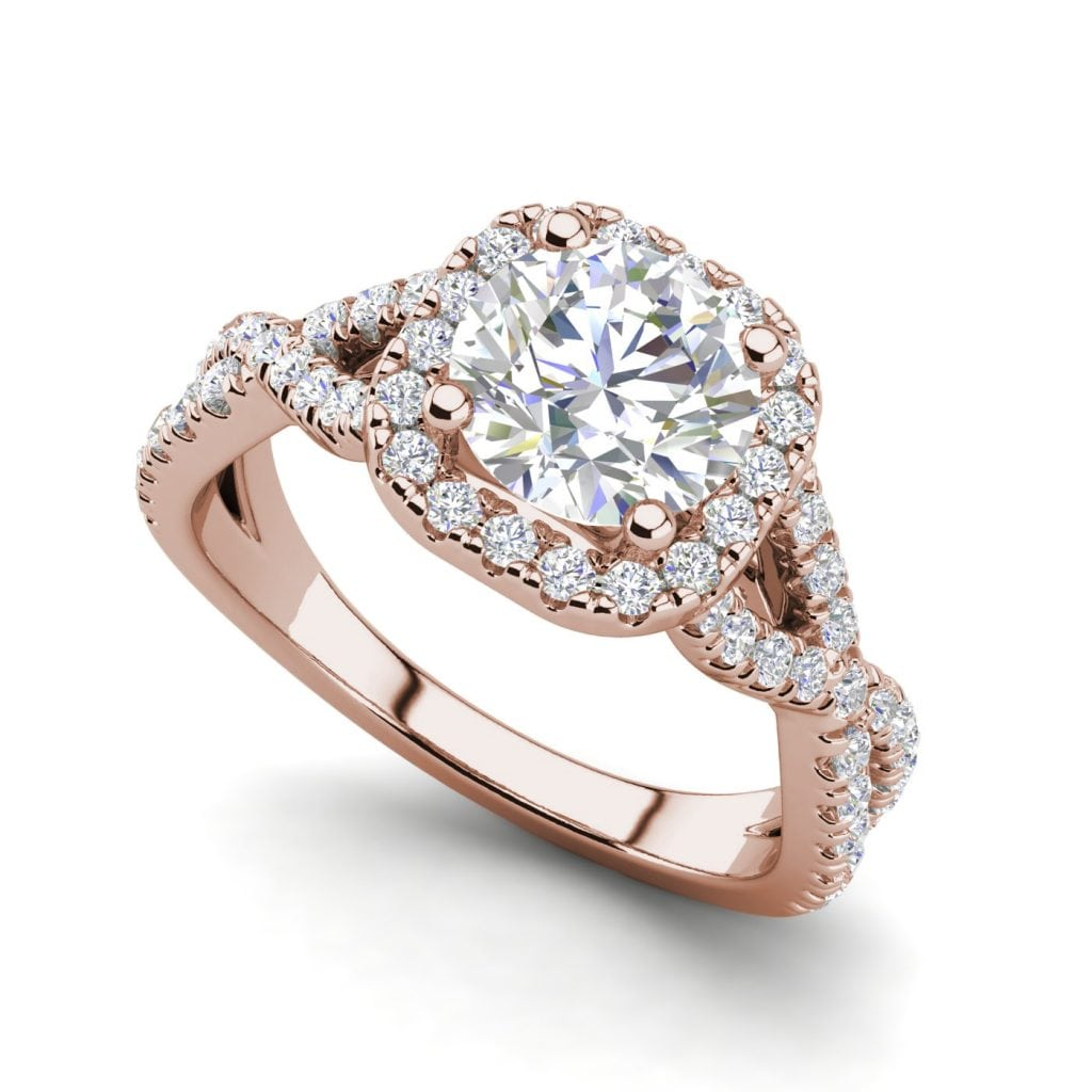 Infinity Halo 2.9 Carat VS1 Clarity H Color Round Cut Diamond Engagement Ring Rose Gold