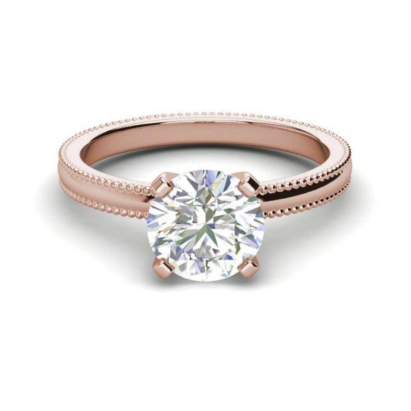 Milgrain Solitaire 0.75 Ct VS2 Clarity F Color Round Cut Diamond Engagement Ring Rose Gold 3