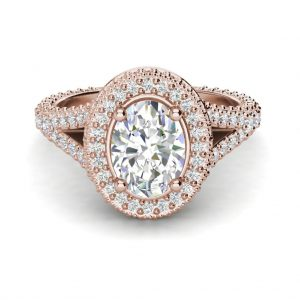Pave Halo 2.1 Carat VS2 Clarity F Color Oval Cut Diamond Engagement Ring Rose Gold 3