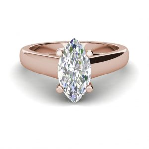 Solitaire 0.5 Carat VVS2 Clarity F Color Marquise Cut Diamond Engagement Ring Rose Gold 3