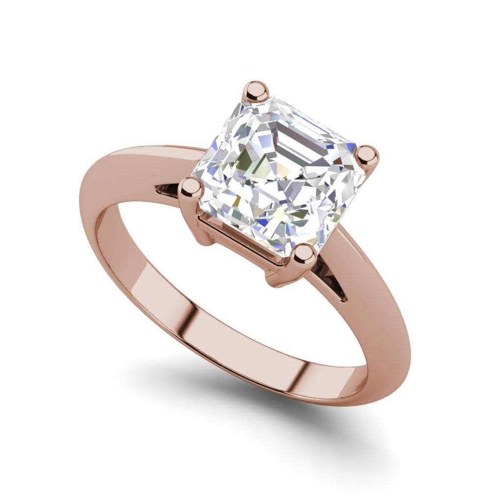 Solitaire 2 Carat VS2 Clarity H Color Cushion Cut Diamond Engagement Ring Rose Gold
