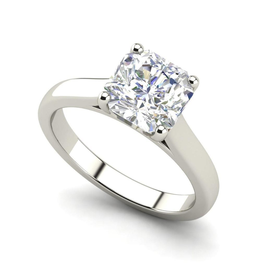 Solitaire 2.25 Carat VS1 Clarity H Color Cushion Cut Diamond Engagement Ring White Gold