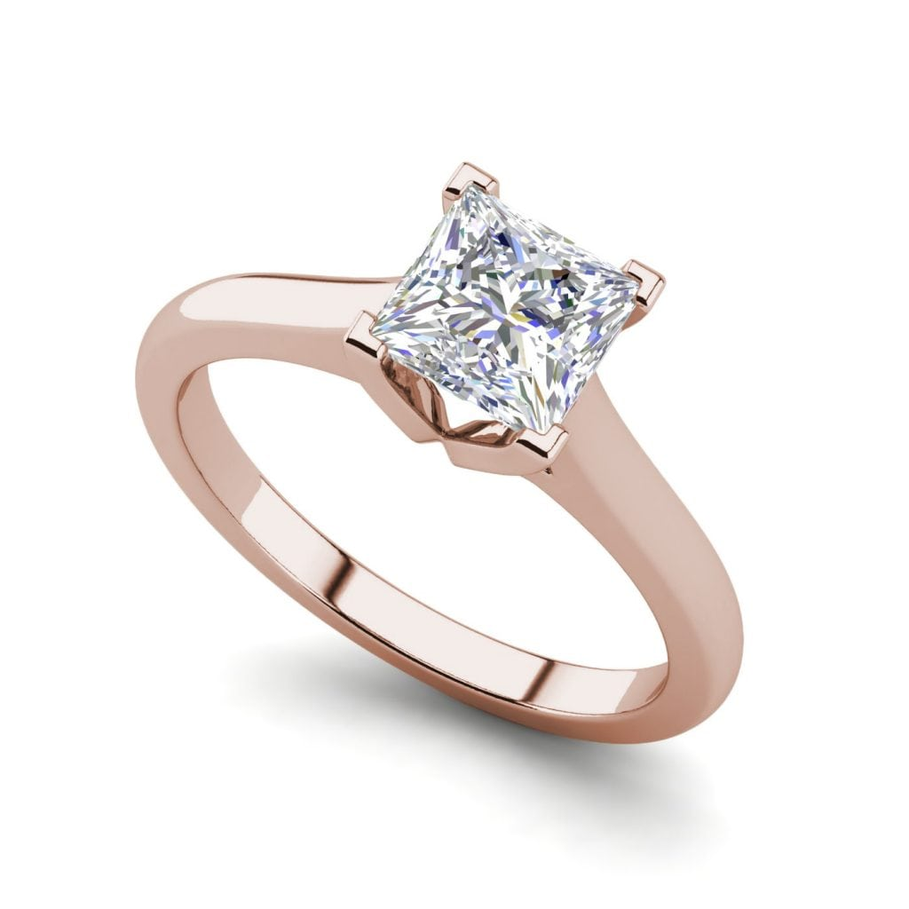 Solitaire 2.5 Carat VVS1 Clarity D Color Princess Cut Diamond Engagement Ring Rose Gold
