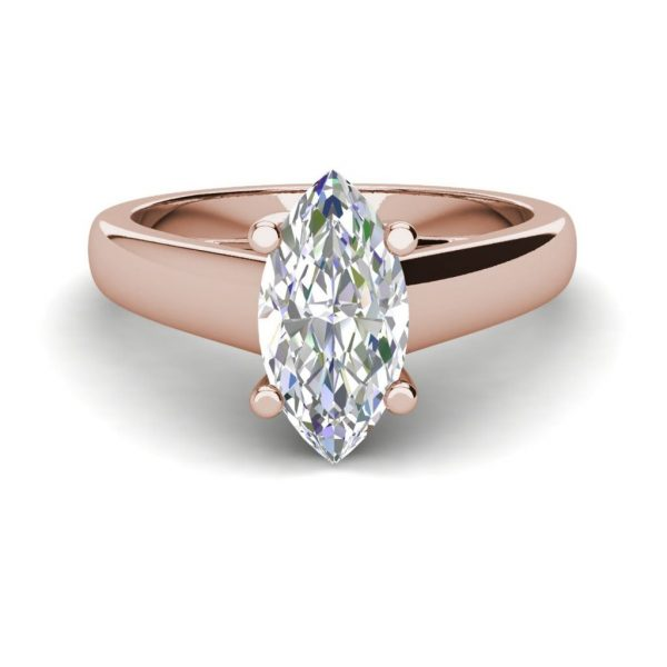Solitaire 3 Carat VS2 Clarity H Color Marquise Cut Diamond Engagement Ring Rose Gold 3