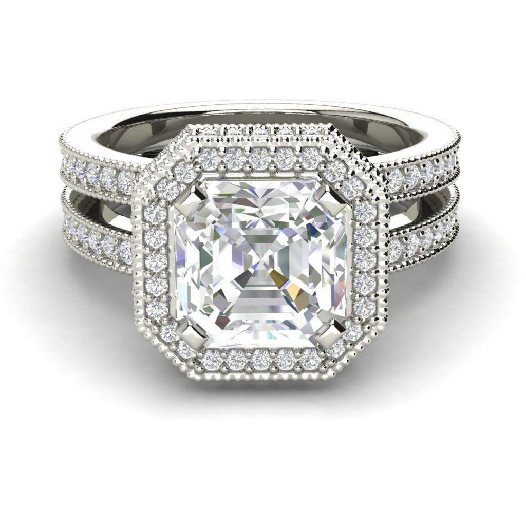 Split Shank Pave 1.75 Carat VS1 Clarity F Color Asscher Cut Diamond Engagement Ring White Gold 3