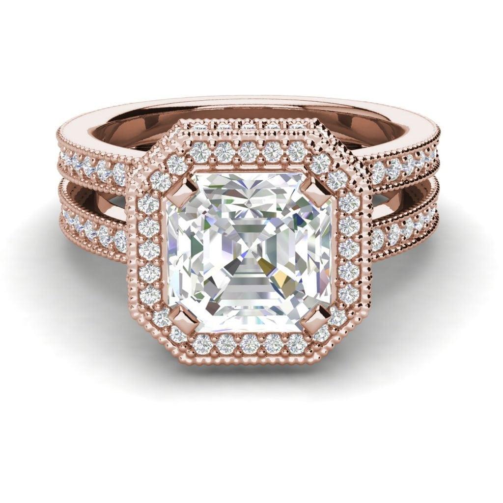 Split Shank Pave 2 Carat VS1 Clarity H Color Asscher Cut Diamond Engagement Ring Rose Gold 3