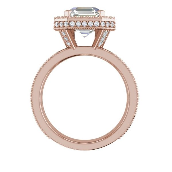 Split Shank Pave 2.15 Carat SI1 Clarity F Color Asscher Cut Diamond Engagement Ring Rose Gold 2