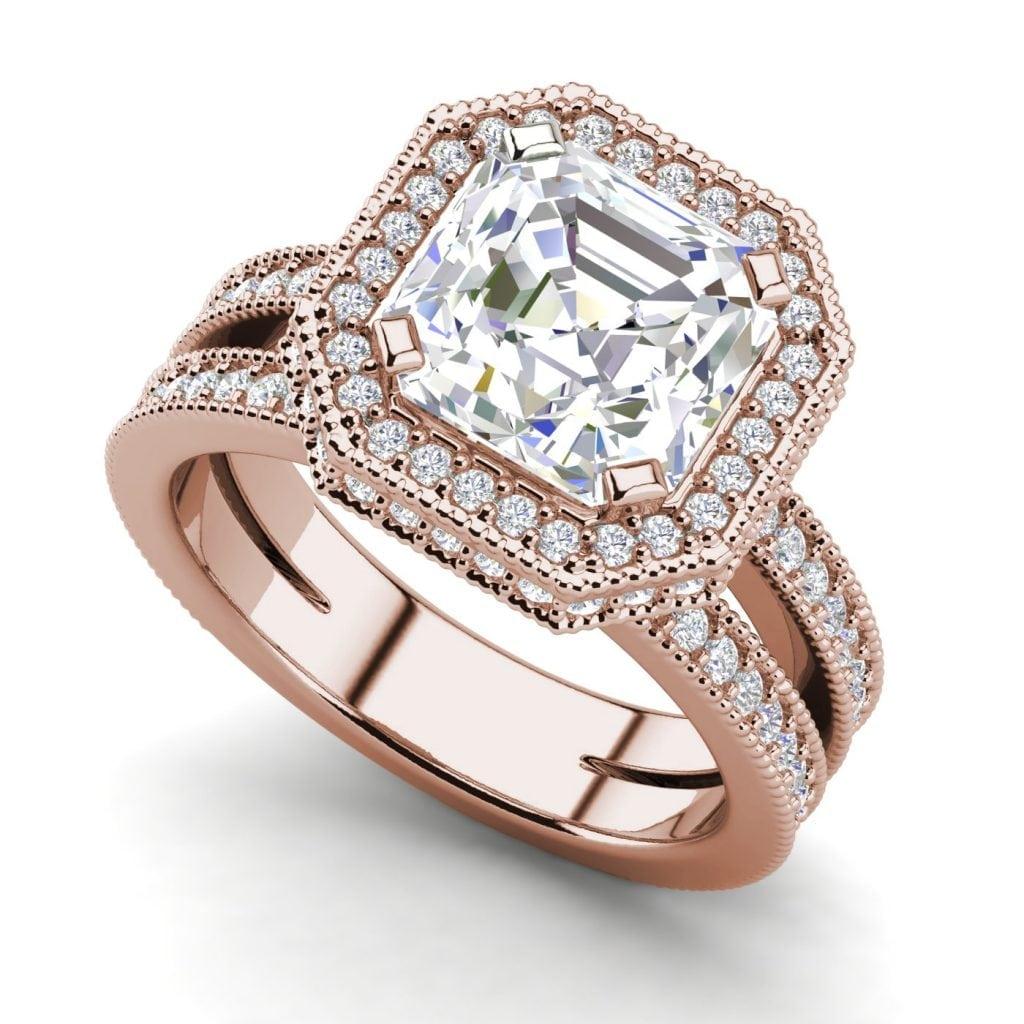 Split Shank Pave 2.75 Carat VS2 Clarity F Color Asscher Cut Diamond Engagement Ring Rose Gold