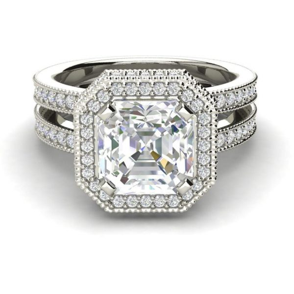 Split Shank Pave 2.75 Carat VS2 Clarity F Color Asscher Cut Diamond Engagement Ring White Gold 3