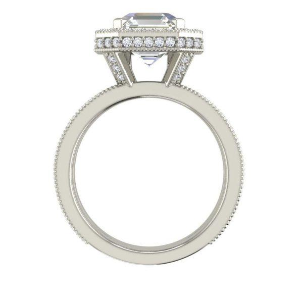 Split Shank Pave 3 Carat VVS1 Clarity D Color Asscher Cut Diamond Engagement Ring White Gold 2