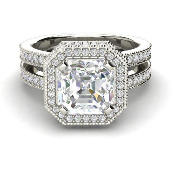 Split Shank Pave 3 Carat VVS1 Clarity D Color Asscher Cut Diamond Engagement Ring White Gold 3