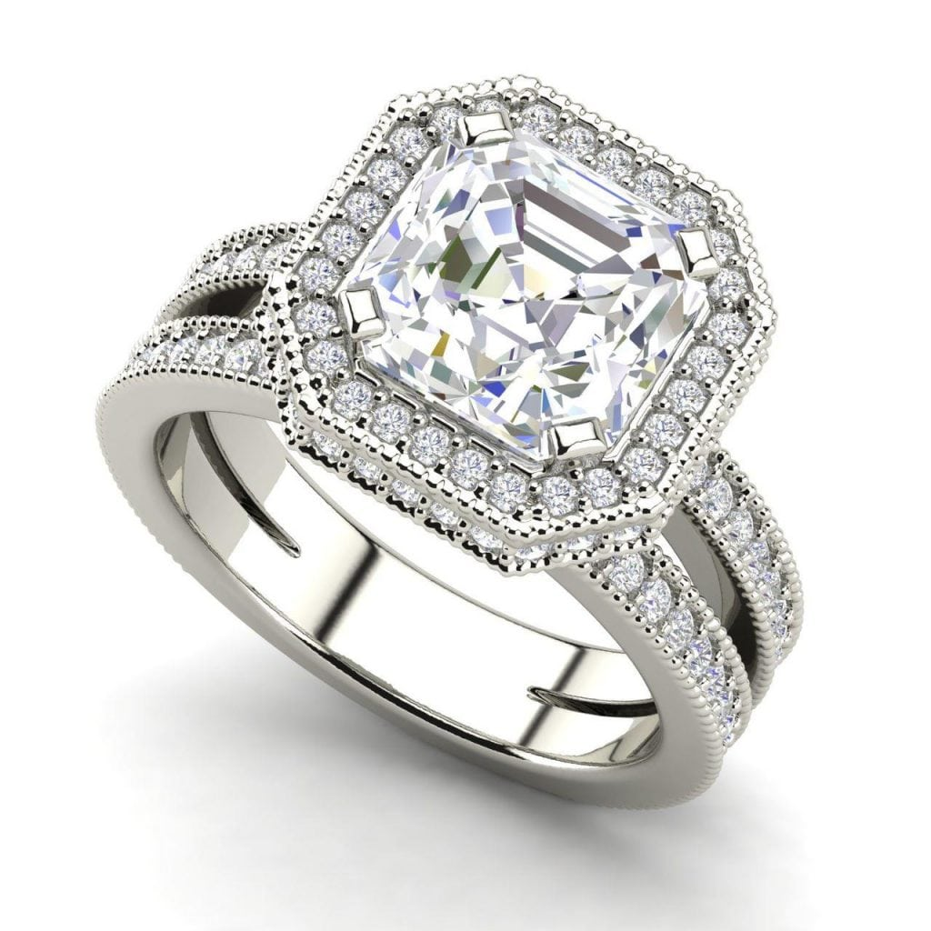 Split Shank Pave 3.25 Carat VS1 Clarity D Color Asscher Cut Diamond Engagement Ring White Gold