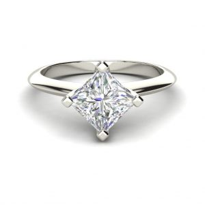 4 Prong 0.75 Carat VS1 Clarity F Color Princess Cut Diamond Engagement Ring White Gold 3