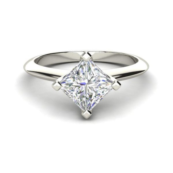 4 Prong 3 Carat SI1 Clarity D Color Princess Cut Diamond Engagement Ring White Gold 3