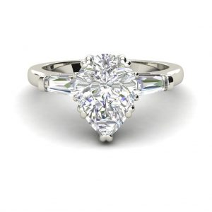 Baguette Accents 1 Ct VVS1 Clarity D Color Pear Cut Diamond Engagement Ring White Gold 3