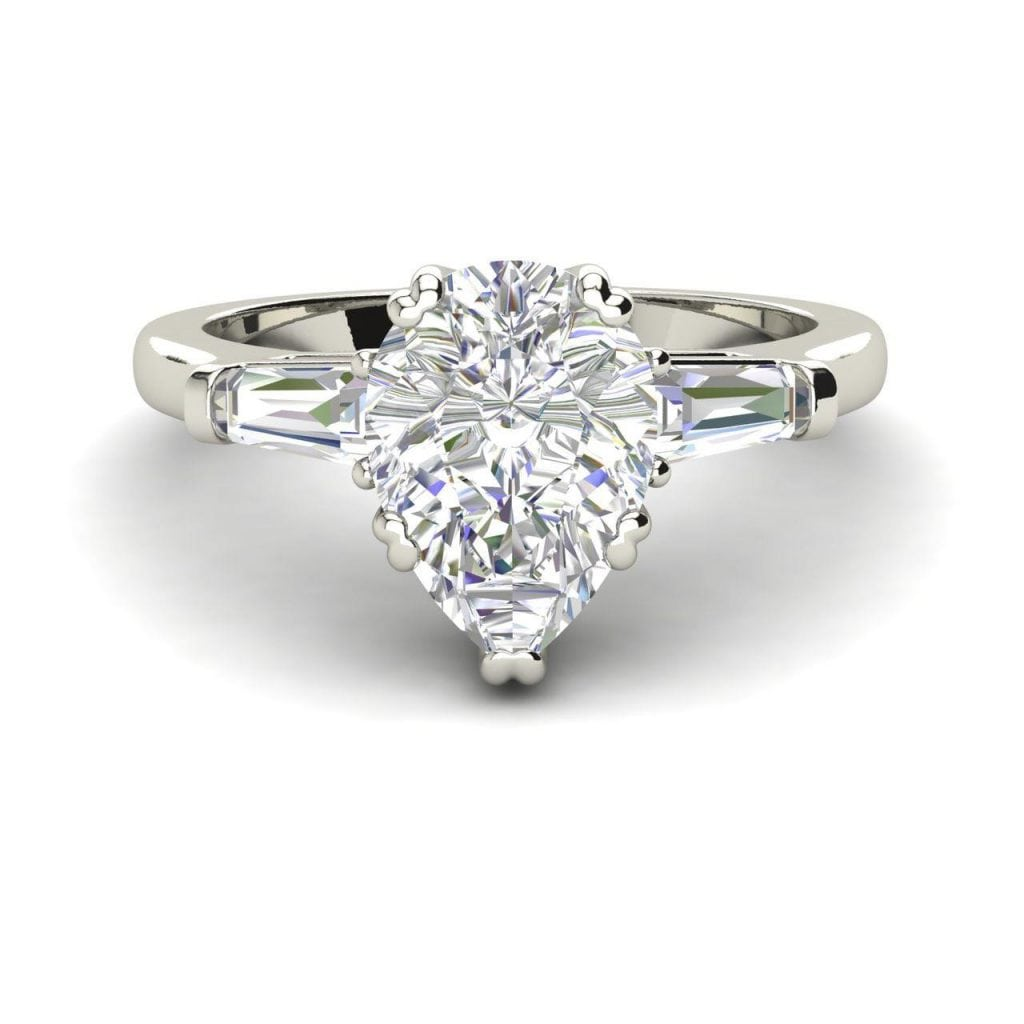 Baguette Accents 1.25 Ct VS2 Clarity F Color Pear Cut Diamond Engagement Ring White Gold 3