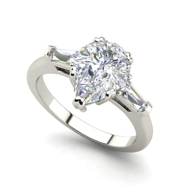 Baguette Accents 1.25 Ct VS2 Clarity F Color Pear Cut Diamond Engagement Ring White Gold